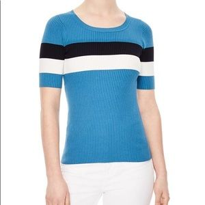 NWT Sandro Mailys colorblock short sleeve sweater